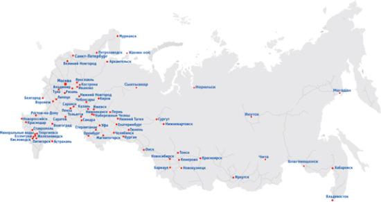 Карта выполненных объектов