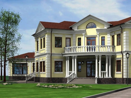 Большой кирпичный дом на винтовых сваях холдинга «Фундэкс»
